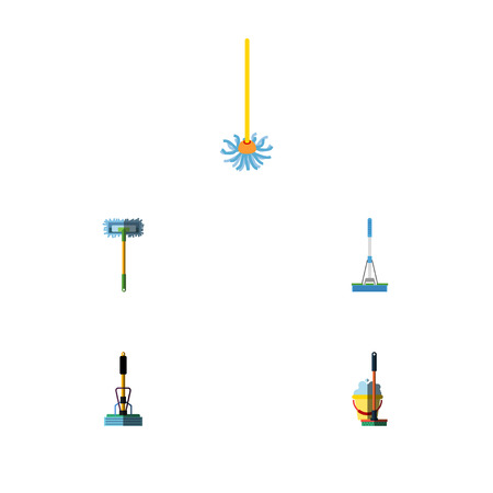 scrubbing: Flat Icon Broomstick Set Of Broomstick, Mop, Besom And Other Vector Objects. Also Includes Broomstick, Sweeper, Mop Elements.