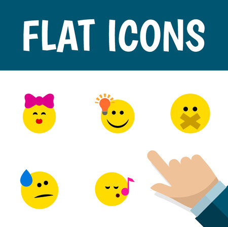 Flat Icon Expression Set Of Have An Good Opinion, Caress, Descant And Other Vector Objects