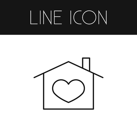 Heart In House Vector Element Can Be Used For Heart, Domicile, House Design Concept.  Isolated Domicile Outline.
