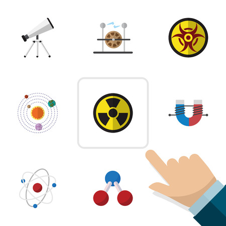 Flat Icon Science Set Of Orbit, Nuclear, Danger And Other Vector Objects