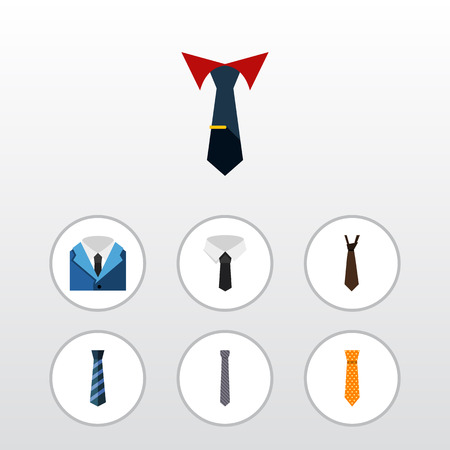 Flat Icon Necktie Set Of Cravat, Suit, Tie And Other Vector Objects Illustration