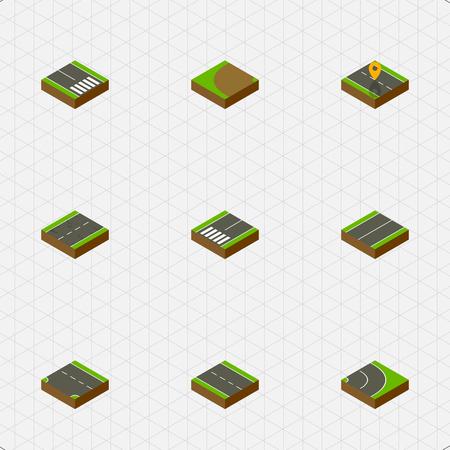 아이소 메트릭 웨이 집합 단일 레인, 터닝, 하향 및 다른 벡터 개체
