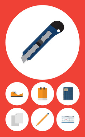 Flat icon stationery set of copybook, knife, sheets and other vector objects. Also includes notepaper, tool, pencil elements.