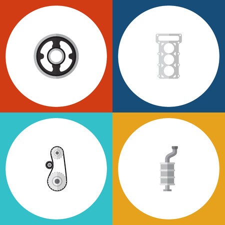 Flat icon parts set of cambelt, belt, packing and other vector objects. Also includes pulley, muffler, gear elements.