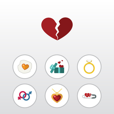 Plat icône amour ensemble fermé, symbole de la sexualité, le divorce et d'autres objets vectoriels. Comprend également la sécurité, cassé, les éléments de divorce.