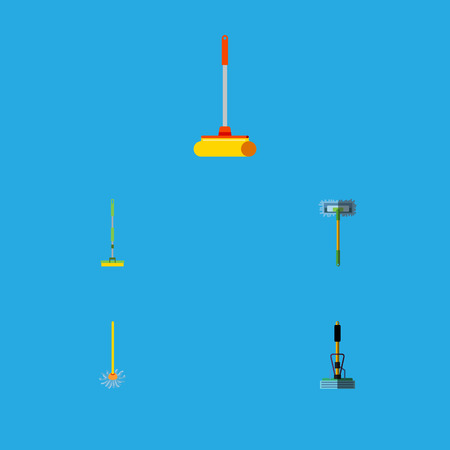 Flat Icon Cleaner Set Of Cleaner, Besom, Equipment And Other Vector Objects. Also Includes Besom, Broom, Sweep Elements.