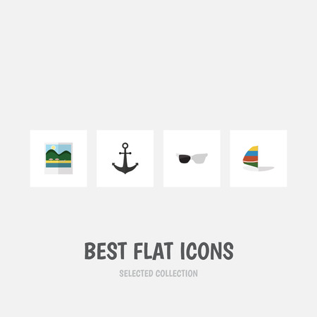 Flat icon beach set of ship hook, surfing, spectacles and other vector objects. Also includes anchor, sailboard.