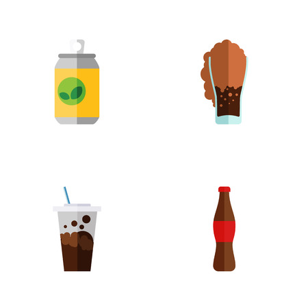 Flat icon soda set of soda, juice, beverage and other vector objects. Also includes drink, beverage, soda elements.