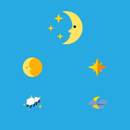 Flat Icon Night Set Of Asterisk, Lunar, Night And Other Vector Objects. Also Includes Moon, Asterisk, Cloud Elements. Illustration