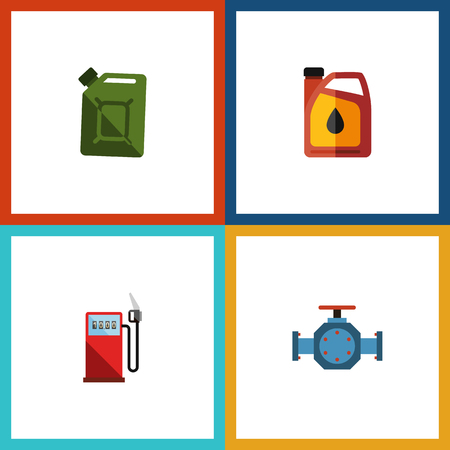 Flat icon fuel set of flange, fuel canister, petrol and other vector objects. Also includes gas, jerrycan, station elements.