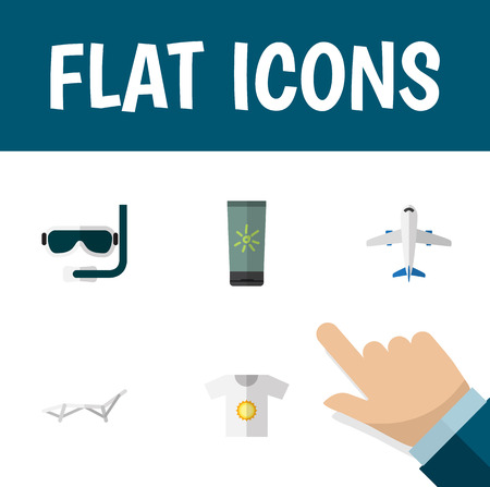 Flat icon summer set of deck chair, aircraft, moisturizer and other vector objects. Also includes cream, clothes, moisturizer elements.