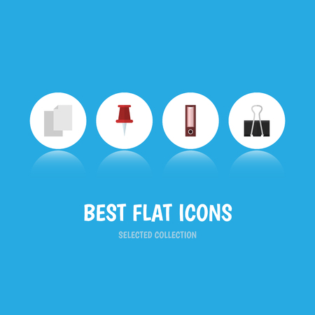 Flat Icon Tool Set Of Dossier, Pushpin, Paper Clip And Other Vector Objects. Also Includes Pushpin, Folder, File Elements.