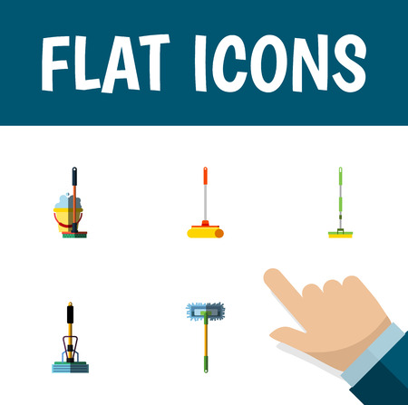 Flat icon cleaner set of besom, mop, cleaner and other vector objects. Also includes mop, sweeper, broomstick elements. Illustration
