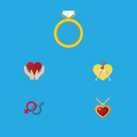 Flat Icon Heart Set Of Engagement, Necklace, Sexuality Symbol And Other Vector Objects. Also Includes Sign, Champagne, Heart Elements.