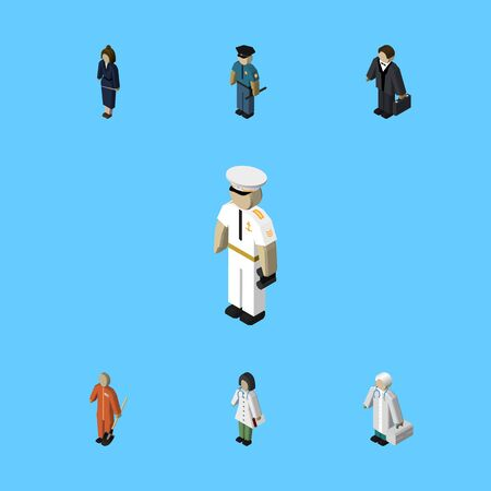 Isometric People Set Of Medic, Cleaner, Seaman And Other Vector Objects. Also Includes Hospital, Cleaner, Businesswoman Elements.