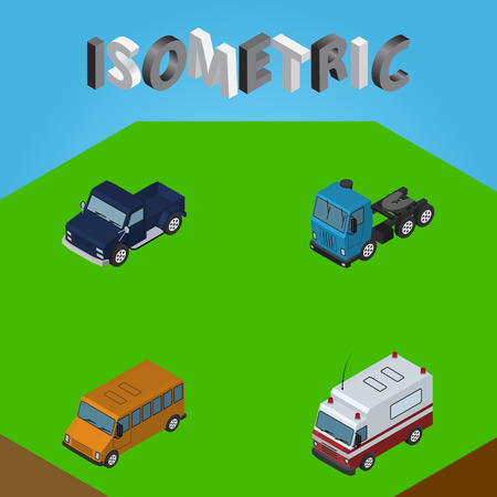 Isometric automobile set of SUV, first-aid, truck and other vector objects. Also includes truck, suv, pickup elements.