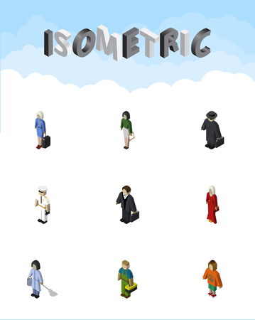Isometric person set of seaman, pedagogue, lady and other vector objects. Also includes cleaner, stewardess, lady elements.