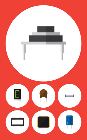 Flat Icon Appliance Set Of Resistor, Transistor, Triode And Other Vector Objects. Also Includes Calculator, Motherboard, Destination Elements.