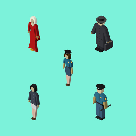 femme policier: Isometric Human Set Of Policewoman, Officer, Girl And Other Vector Objects. Also Includes Woman, Girl, Detective Elements.