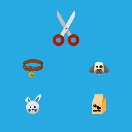 lapin: Flat icon pets set of hound necklace, puppy, shears and other vector objects. Also includes hare, puppy, hound elements.