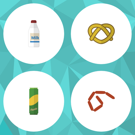Flat icon eating set of bottle, cookie, bratwurst and other vector objects. Also includes pretzel, milk, sausage elements.