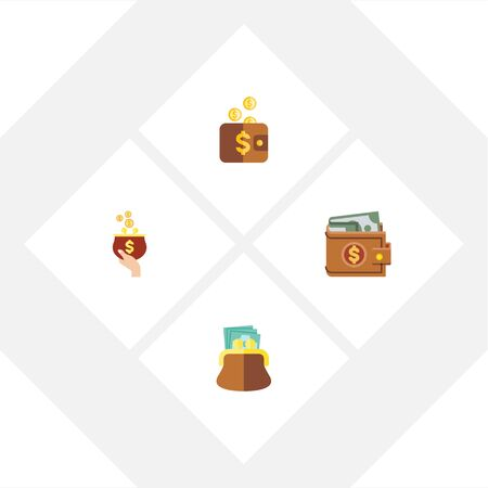 billfold: Flat Icon Purse Set Of Money, Pouch, Payment And Other Vector Objects
