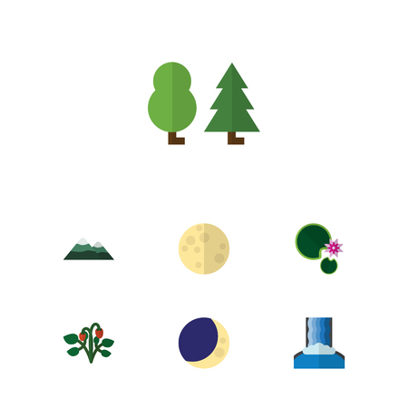 Flat icon natural set of half moon, peak, lotus and other vector objects