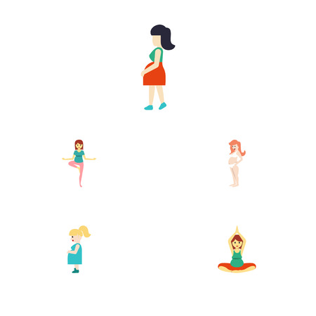 Flat icon pregnancy set of pregnancy, yoga, pose and other vector objects Illustration