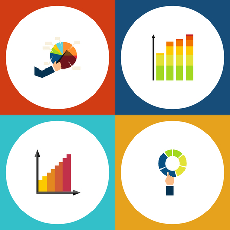 relational: Flat Icon Chart Set Of Segment, Monitoring, Pie Bar And Other Vector Objects. Also Includes Chart, Graph, Statistic Elements.