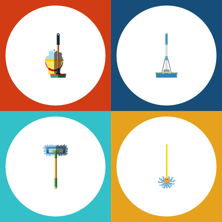 Flat Icon Cleaner Set Of Mop, Besom, Cleaning And Other Vector Objects. Also Includes Cleaning, Equipment, Sweep Elements.