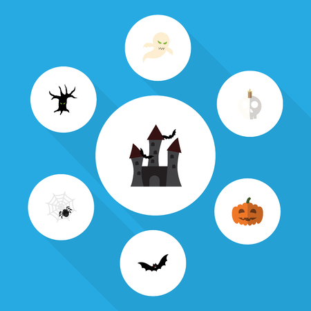Flat Icon Halloween Set Of Fortress, Terrible Halloween, Ghost And Other Vector Objects. Also Includes Creepy, Bat, Phantom Elements.