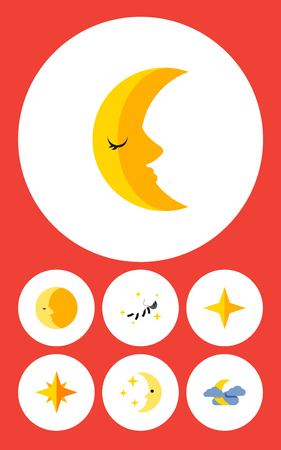 Flat Icon Bedtime Set Of Midnight, Lunar, Nighttime And Other Vector Objects. Also Includes Midnight, Cloud, Moon Elements. Ilustração