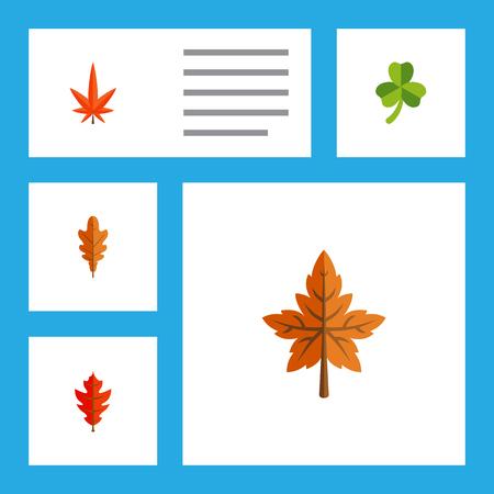Platte pictogram blad Set van blad, linde, varenblad en andere vectorobjecten. Bevat ook Aspen, Linden, Leaf Elements.