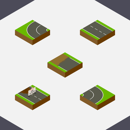 Isometric Way Set Of Incomplete, Single-Lane, Way And Other Vector Objects. Also Includes Lane, Under, Repairs Elements. Ilustrace
