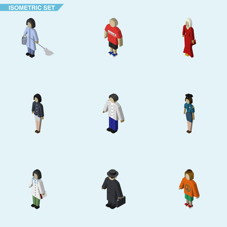 Isometric Human Set Of Doctor, Girl, Male And Other Vector Objects. Also Includes Nurse, Housemaid, Detective Elements.
