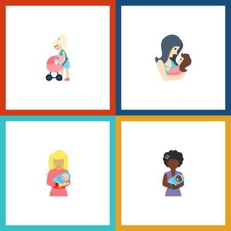 Flat Icon Mother Set Of Kid, Newborn Baby, Mam And Other Vector Objects. Also Includes Perambulator, Mam, Newborn Elements. Illustration