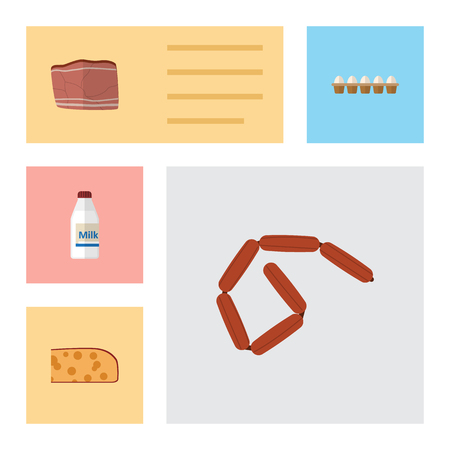 Flat Icon Eating Set Of Eggshell Box, Cheddar Slice, Bottle And Other Vector Objects. Also Includes Beef, Frankfurt, Box Elements.
