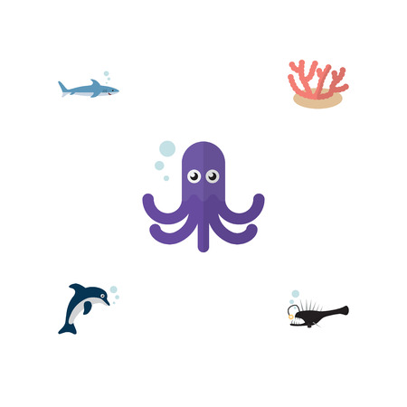 Flat Icon Sea Set Of Algae, Fish, Playful Fish And Other Vector Objects. Also Includes Angler, Gray, Tentacle Elements. Ilustração