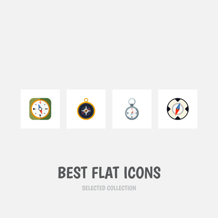 Flat Icon Orientation Set Of Magnet Navigator, Direction, Instrument And Other Vector Objects. Also Includes Navigation, Divider, Navigator Elements.