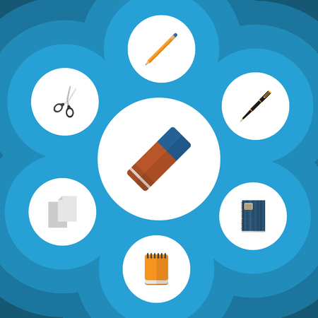 Flat Icon Tool Set Of Rubber, Notepaper, Sheets And Other Vector Objects. Also Includes Scissors, Pen, Memo Elements.