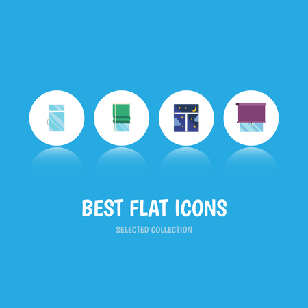 Flat Icon Window Set Of Frame, Clean, Glazing And Other Vector Objects. Also Includes Night, Curtain, Clean Elements.