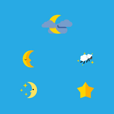 Flat Icon Night Set Of Starlet, Night, Moon And Other Vector Objects. Also Includes Midnight, Asterisk, Sky Elements. Illustration