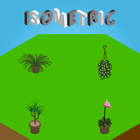 Isometric Plant Set Of Blossom, Grower, Plant And Other Vector Objects. Also Includes Botany, Blossom, Pot Elements.