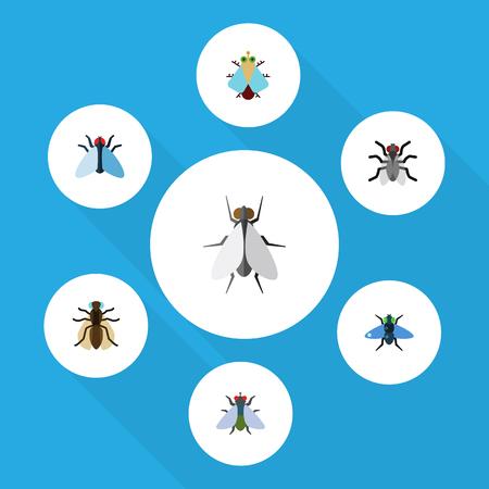 플랫 아이콘 버즈의 작은, 흠, 모기 및 기타 벡터 객체의 설정. 또한 모기, 박쥐, 흠 요소를 포함합니다.