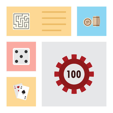 Flat Icon Games Set Of Backgammon, Lottery, Labyrinth And Other Vector Objects. Also Includes Maze, Chip, Lost Elements.