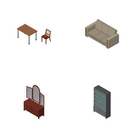 Isometric Furniture Set Of Drawer, Sideboard, Chair And Other Vector Objects. Also Includes Cabinet, Chair, Couch Elements. Illustration
