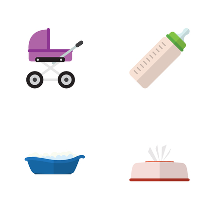Flat Icon Infant Set Of Feeder, Bathtub, Stroller And Other Vector Objects. Also Includes Bathtub, Pram, Stroller Elements.