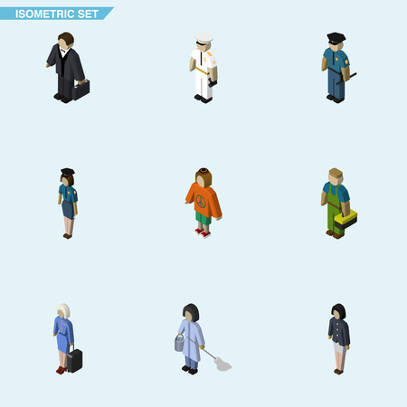 Isometric Human Set Of Officer, Investor, Girl And Other Vector Objects. Also Includes Guy, Hippie, Girl Elements.