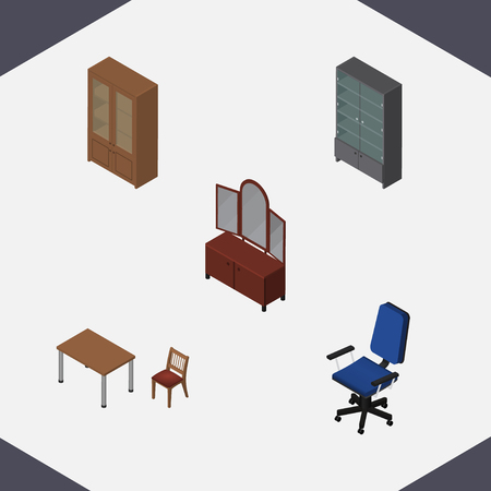 Isometric Design Set Of Sideboard, Cabinet, Drawer And Other Vector Objects. Also Includes Office, Cabinet, Cupboard Elements.