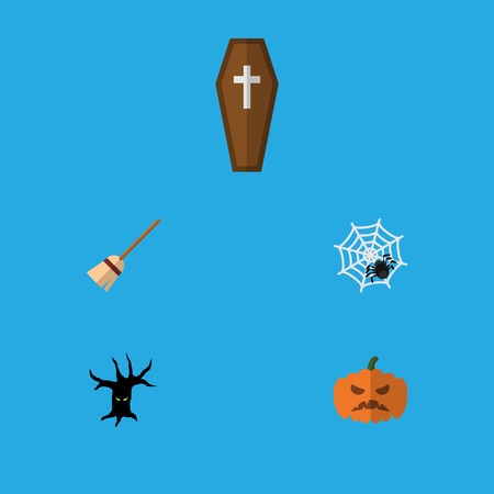 Flat Icon Festival Set Of Spinner, Casket, Terrible Halloween And Other Vector Objects. Also Includes Pumpkin, Terrible, Broomstick Elements. Illustration